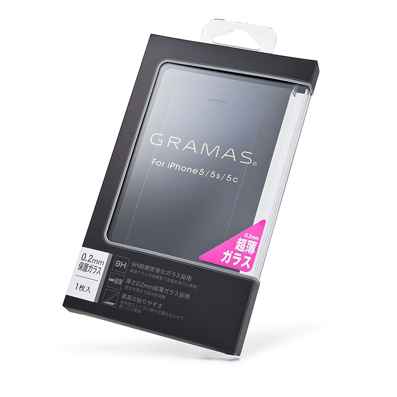 GRAMAS EXTRA Glass 0.20mm GEXIP5NST for iPhone SE / 5s / 5c / 5 イメージ③